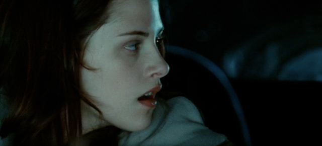 A screenshot from Twilight (2008) featuring Kristen Stewart