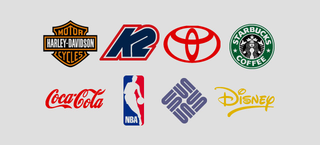 A collage of eight product logos