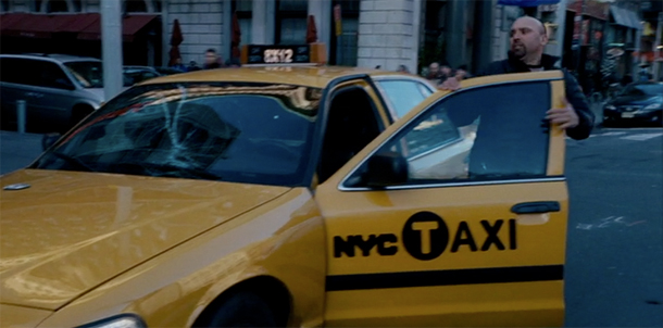 Screenshot from The Adjustment Bureau featuring a NYC taxi