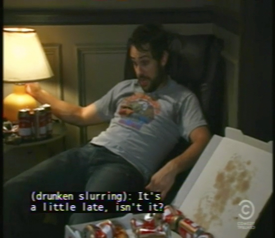 "A frame from an episode of It's Always Sunny in Philadelphia featuring a ""drunken slurring"" non-speech caption"
