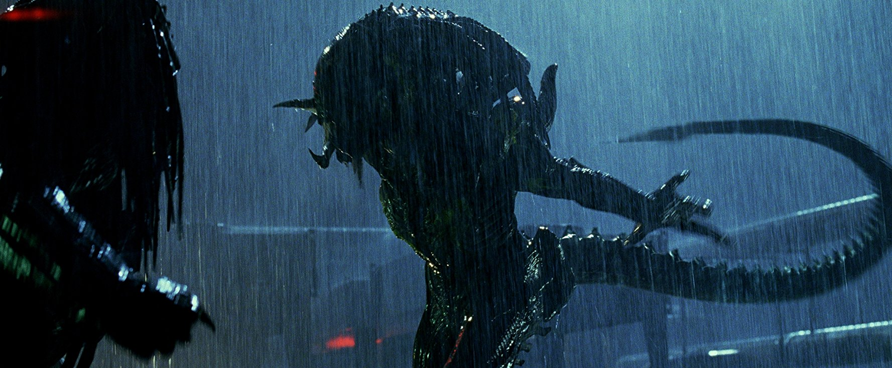 Alien fighting Predator in the rain at night in this frame from Aliens vs Predator: Requiem