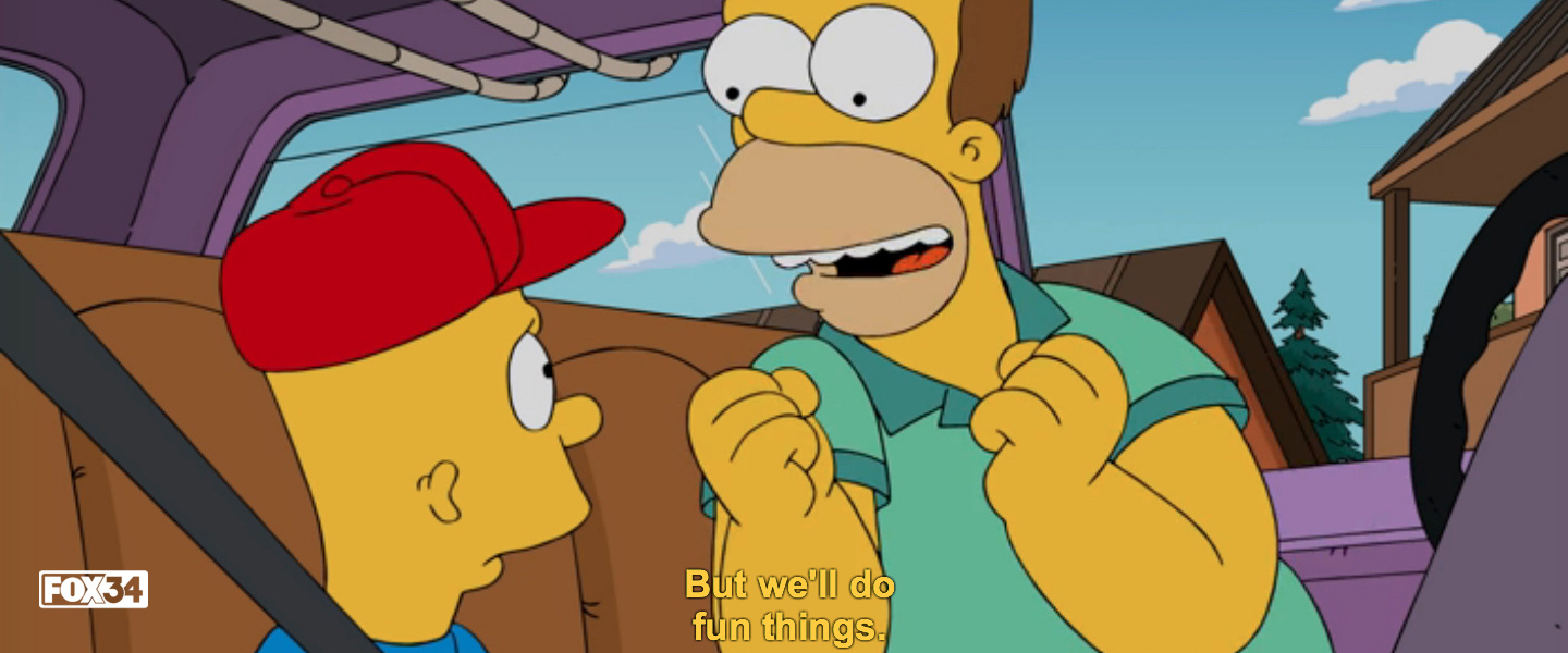 A frame from The Simpsons' Barthood episode featuring a closed caption with a black background around the caption to provide contrast