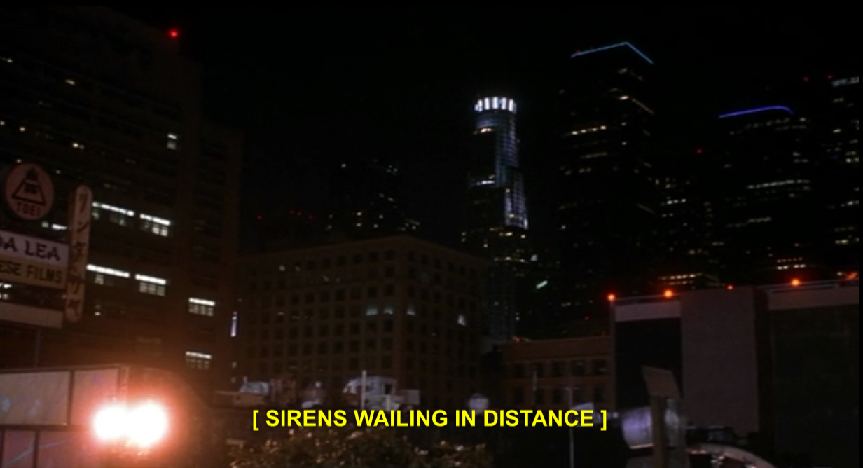 A frame from Prophecy 3: The Ascent featuring a cityscape at night and the closed caption: [SIRENS WAILING IN DISTANCE]